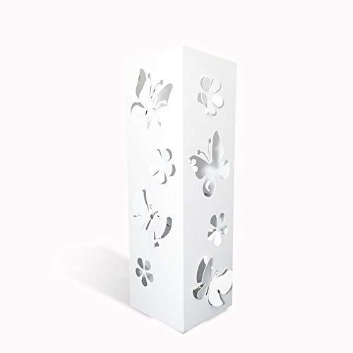 CAI & ZAI Umbrella Stand Butterflies Square mit herausnehmbarem Tablett - Weiß - Abmessungen 15x15x47 cm- Made in Italy- Modernes Design- Geeignet für den Innen- und Außenbereich