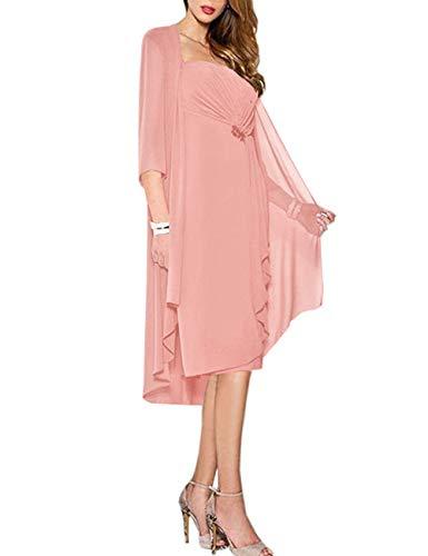 HUINI Brautmutter Kleider mit Jacke Wadenlang Chiffon Perlen Hochzeitskleid Abendkleid Ballkleid Festkleider Altrosa