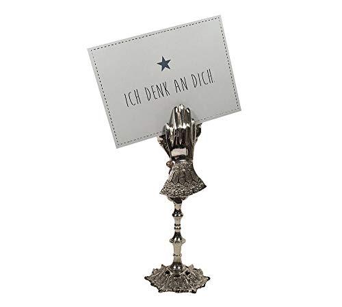 zeitzone Tischkartenhalter Hand Barock Stil Silber Metall Kartenhalter Platzkartenhalter 22,5cm