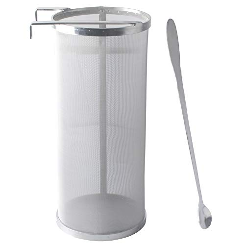 Gekufa Hop Filter 6 x 14 Inch Hop Spider 300 Micron Mesh Stainless Steel Strainer with Spoon for Home Beer Brewing Kettle Homebrew Hop Strainer
