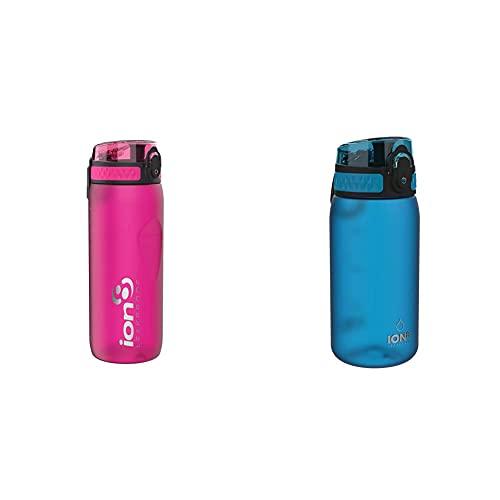 Ion8 Leak Proof Bpa Free, Botella De Agua Unisex Adulto, Rosa (Frosty Pink), 650 Ml + Leak Proof Bpa Free, Botella De Agua, Sin Bps, A Pueba De Fugas, Azul (Frosted Blue), 350 Ml