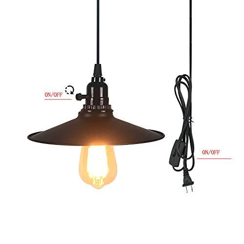 Vintage Pendelleuchte mit Schalter und Stecker, Industrie Hängeleuchte, Schwarz Metall Glas schirm Hängelampe, E27 Birne 4M Kabel Abstellraum Beleuchtung Loft Esstisch Lampe (C)