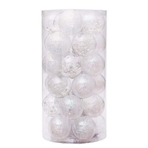 QXMAOYI Christmas Ball Ornaments 60mm/2.36' Shatterproof Clear Plastic Christmas Ball Ornaments Decorative Xmas Balls Baubles Set with Stuffed Delicate Decorations (30 pcs)