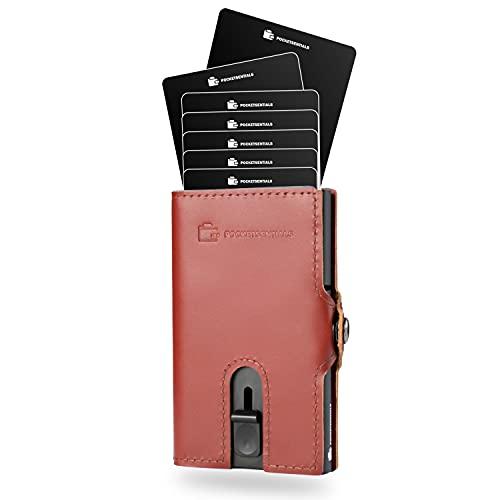 Bond Smart Wallet   Kreditkartenetui mit Münzfach   Aluminium Slim Wallet für bis zu 8 Karten   Mini-Wallet mit RFID-Schutz   Kartenetui aus Echtleder in Braun