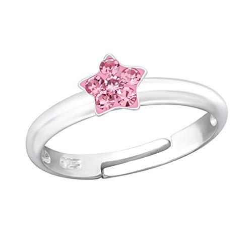 Kinder Ring 925 Echt Silber Mädchen Fingerring Emaille Kristalle Verstellbar (Stern CZ Rosa / 5mm)