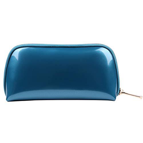 Voyage Sac de Rangement Sac de Lavage Sac cosmétique Femme Main Prendre PVC Shell Sac cosmétique 22 * 5 * 11 CM Bleu Paon