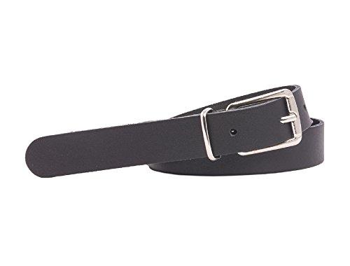 Cinturón de cuero - Fino - 2 cm de ancho - De 85 a 130 cm de largo - Negro - 130 cm