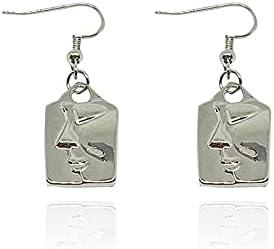 T-ztoss Human Face Earrings Unique Abstract Art Dangle Earring Fashion Statement Geometric square Drop Hoops Earrings for Women Girls