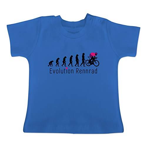 Evolution Baby - Rennrad Evolution - 3/6 Monate - Royalblau - BZ02 - Baby T-Shirt Kurzarm