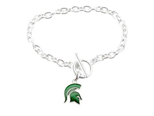Michigan State Spartans Iridescent Green Charm Toggle Bracelet Jewelry MSU