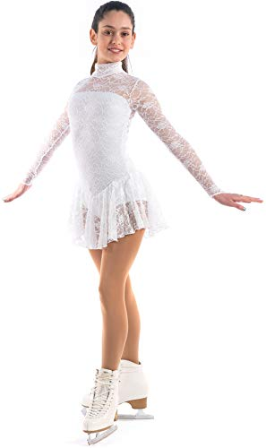 Sagester # 132 / Italy Hand-Made/Figure Ice Skating Dress, Roller Skating, White, X-Small