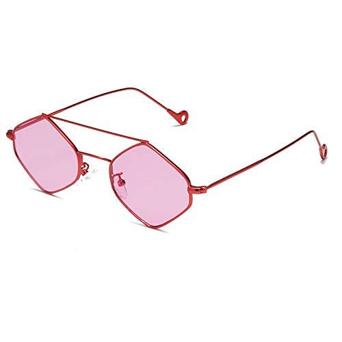 Gafas de Sol Sunglasses Estilo Metal Poligonal Mujeres Pequeñas Gafas De Sol Retro Versión Coreana Gafas De Sol con Montura Pequeña Pieza del Océano Personalidad C4