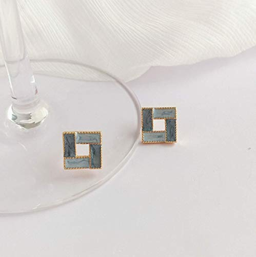 Pendientes de aceite de gota cuadrada pequeños S925 pendientes pequeños retro joyería de temperamento femenino B