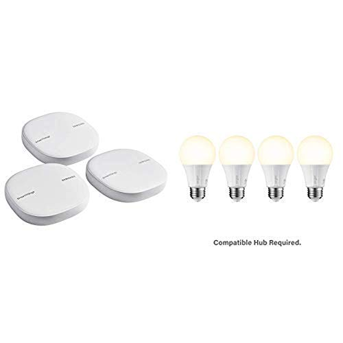 Samsung SmartThings Wifi Mesh Router Range Extender SmartThings Hub Functionality Whole-Home WiFi Coverage and Smart LED Soft White A19 Bulb Hub...