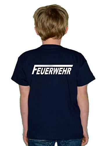 Feuer1 T-shirt pour enfant avec motif pompiers et long F (recto verso) Blanc 152 cm bleu marine