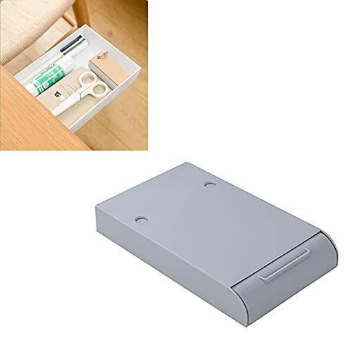Cajonera invisible para debajo de la mesa, bandeja de escritorio oculta, cajón de almacenamiento de papelería, cajón de escritorio autoadhesivo para la escuela (gris grande)