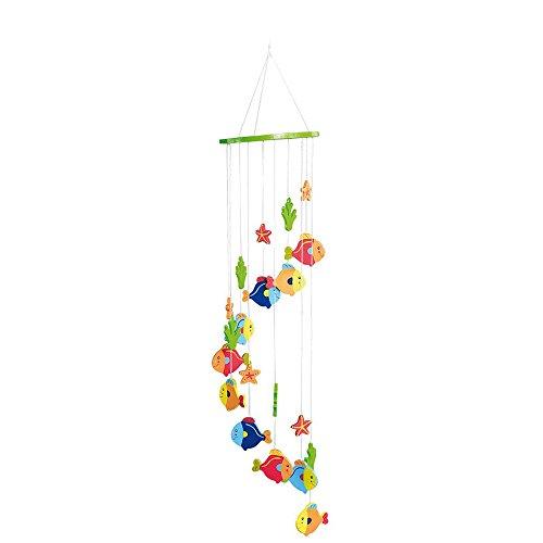 """small foot 7998 Mobile """"Fische"""" aus Holz, bunt lackiert, ein tolles Luftaquarium für das Baby- und Kinderzimmer"""