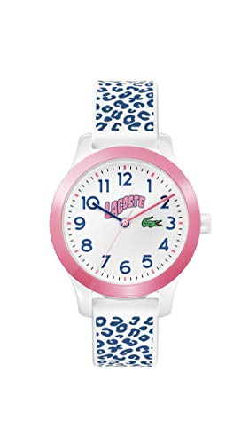 Lacoste Relógio Infantil Lacoste.12.12 Quartzo com Pulseira de Silicone, Branco e Azul, 14 (Modelo: 2030025)