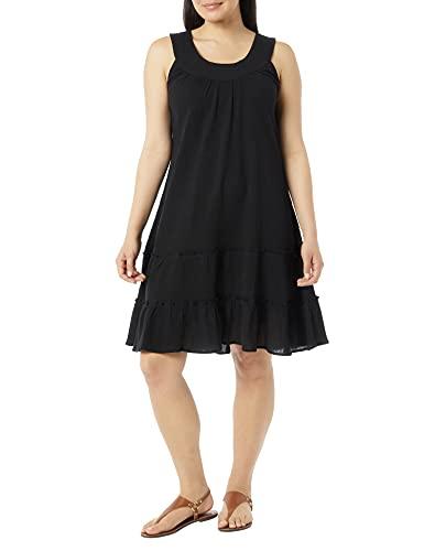 Anthony Richards Women's Crinkle Gauze Sun Dress - 100% Cotton Sleeveless Dress Black Large