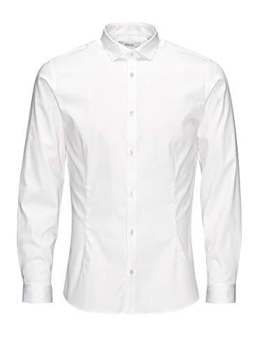 Jack & Jones Jjprparma Shirt L/s Noos Camisa, Weiß (White/Super Slim), S para Hombre