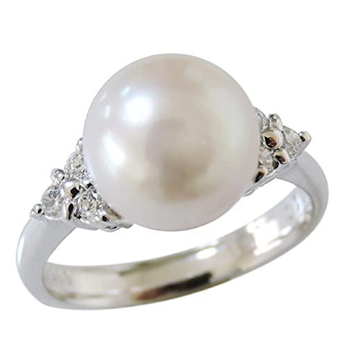 真珠の杜 パール リング 指輪 あこや本真珠 9mm ホワイト系 シルバー SV キュービックジルコニア 6石 rk3288a9h_180 18号