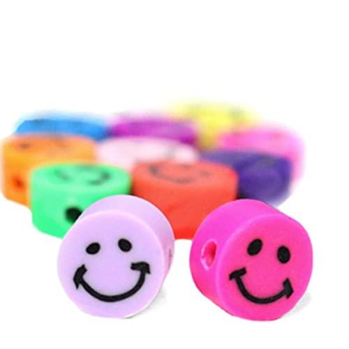Sadingo Cuentas de colores con forma de emoticono (40 unidades, polímero de 10 mm) para enhebrar pulseras, juego de manualidades para niños y adultos
