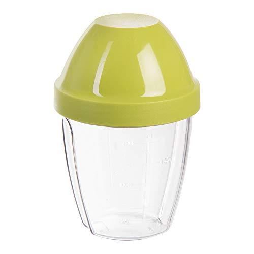 wenco Mixbecher mit Deckel und Mixscheibe, 0,25 l Messskala, Kunststoff BPA-frei, Transparent/Grün, 517621