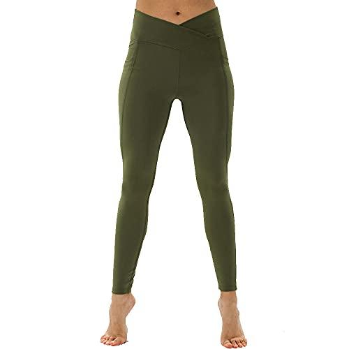 WUHUI Vita Alta Pantaloni da Yoga Lunghi Elasticizzati, Pantaloni Elastici a Vita Alta in Tinta Unita Donna,-Green_Lees, Pantaloni Yoga Jogging Donna Jogger Pants