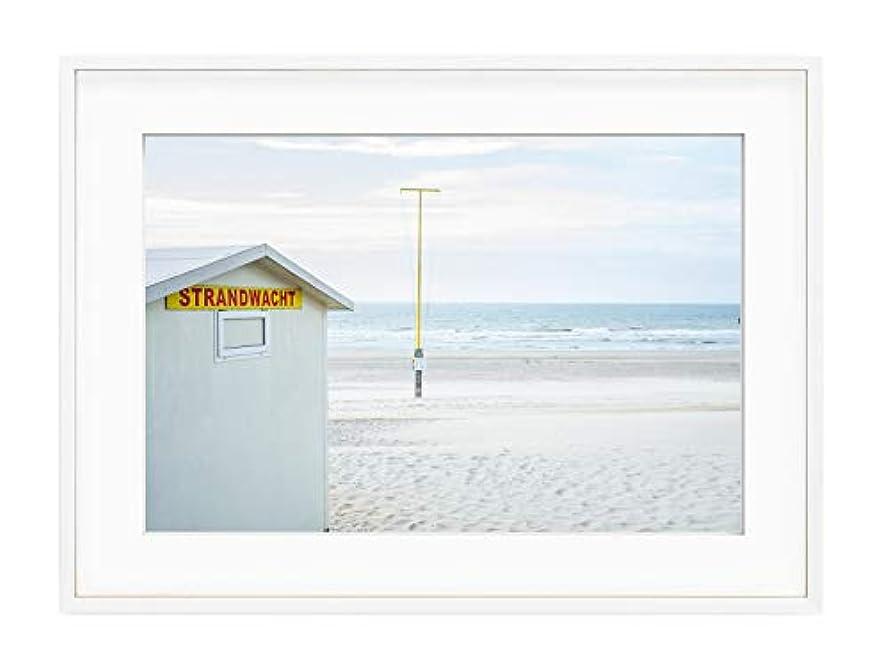 North Beach, Black Satin Aluminium Frame, with Mount, Multicolored, 40x50