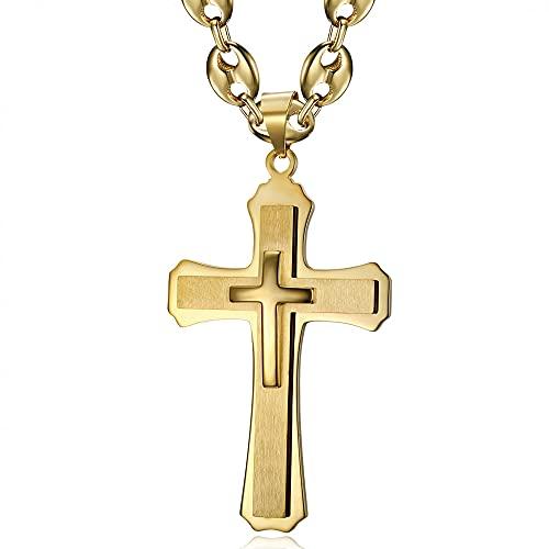 Bobijoo Jewelry – Colgante de cruz católica XXL de triple grosor + cadena de grano de café 70 cm, acero inoxidable dorado