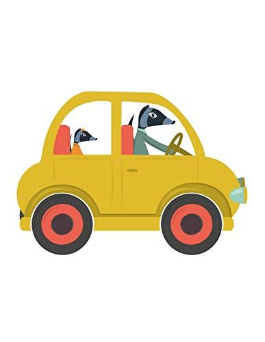Sticker enfant: voiture jaune - Format : 100 x 74 cm