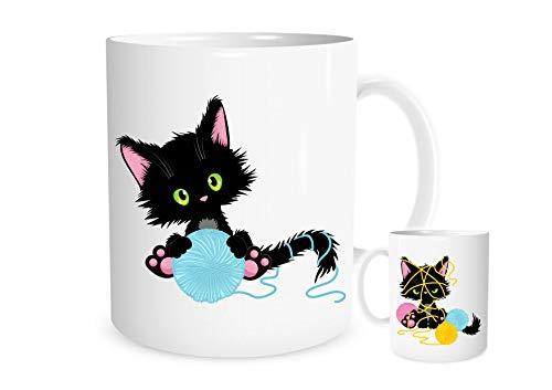 11OZ schattige zwarte kat spelen met een bal van wol mok, een prachtig cadeau perfect voor een verjaardag of Kerstmis gratis P&P