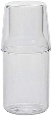 Karelu Jarra de agua con vaso de cristal, juego de vasos de agua fría, jarra de agua de noche, botella de resistencia a altas temperaturas