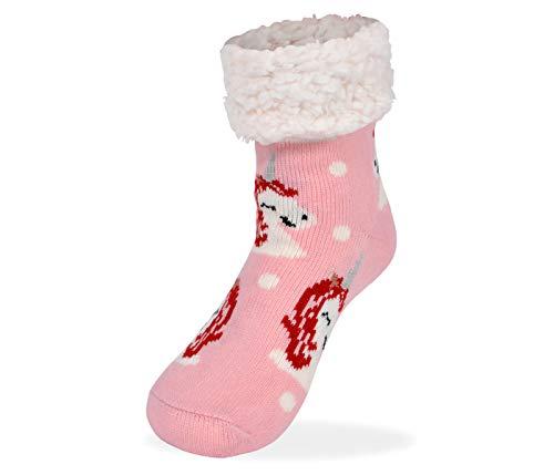 Alsino Chaussettes Antidérapantes Douces et Chaudes Rose avec Licorne Taille Unique pour Femme 37-42 Hiver Chausson Pantoufle Norvégienne pour Noel