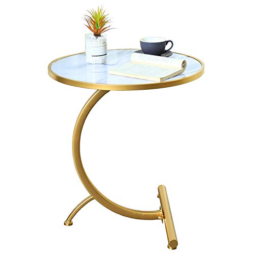 MHKanS Round Side Table Modern Coffee Table Accent Table Faux Marble Tabletop C Shaped End Table for Living Room Bedroom Couch Sofa Bed (White)
