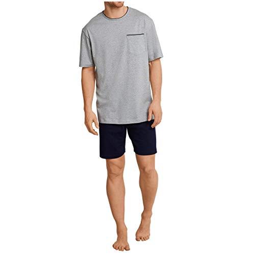 Seidensticker Herren Zweiteiliger Schlafanzug Anzug Kurz, Grau (Grau-Mel. 202), Medium (Herstellergröße: 50)