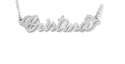 Cristina Collana Donna Girocollo con Nome in Acciaio -corsivo- Lunghezza Regolabile - anallergica - Ciondolo Donna, Color Argento (Bigiotteria) (Bigiotteria)