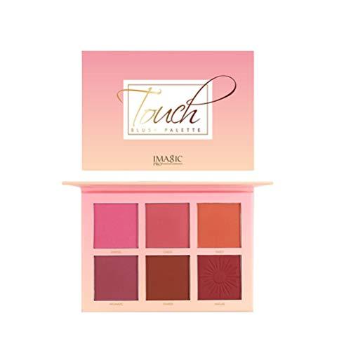 Beaupretty Paleta de rubores cosméticos en polvo de 6 colores, paleta de rubor en mejillas a prueba de agua pigmento de larga duración colorete natural 6 tonos para todos los tonos de piel