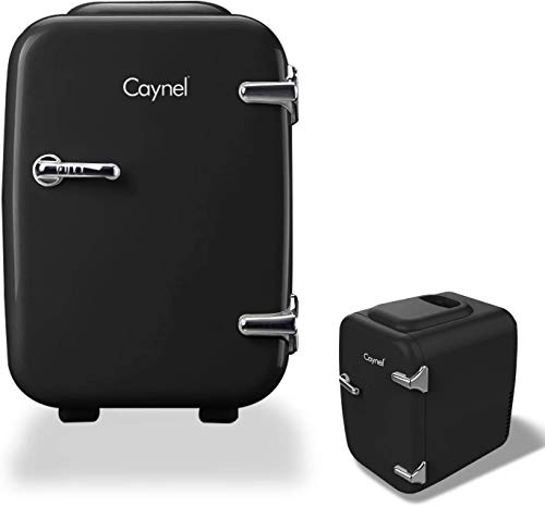 CAYNEL Mini Fridge Cooler and Warmer, (4Liter / 6Can) Portable Compact Personal Fridge, AC/DC Thermoelectric System, 100… 5 COMPACT & PORTABLE: Caynel cooler/warmer mini fridge chills 6 12oz. cans and is perfectly portable for personal use. It's small size, sleek design and convenient carry handle, makes it easy to take the mini fridge with you on the go! 100 PCs cute stickers help you customize your own fridge , make your personality shine! COOLING & WARMING: the Thermoelectric System in the Caynel mini fridge allows for easy switching from beverage cooler to food warmer! Easily choose to chill up to 45ºF or warm up to 140ºF - with the flip of a switch. Well insulated interior holds temperature even after unplugged. GO GREEN!: the unique semiconductor operation is energy-efficient, ultra-quiet and 100% environmentally friendly. 100% Freon-Free and ETL approved with advanced safety technology for long lasting durability. Includes plugs for both 110V (AC) standard home outlets and 12V car chargers. Use at home or on the road!