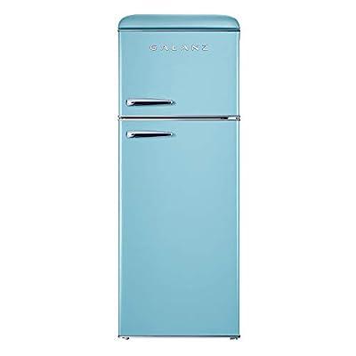 Galanz GLR76TBEER Retro Top Mount Refrigerator,DualDoor Fridge,Adjustable Mechanical Thermostatwith True Freezer, 7.6 Cu.Ft,Blue, Cu Ft