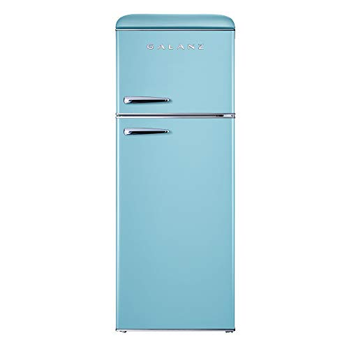 Galanz GLR76TBEER Retro Top Mount Refrigerator, Dual Door Fridge, Adjustable Mechanical Thermostat with True Freezer, 7.6 Cu Ft, Blue