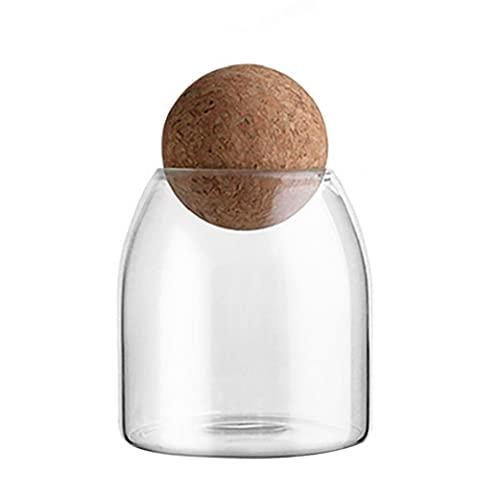 Conjuntos de Madera Caja con Tapas de Cierre hermético Jar contenedores de Almacenamiento de Alimentos de Cristal Tarro Transparente con Corcho para Frijoles Granos de té de Caramelo Pequeño