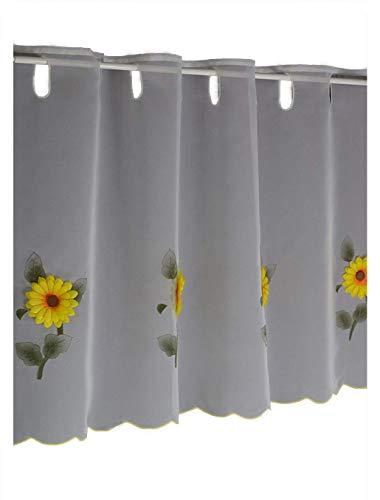 Hossner Scheibengardine Sonnenblume Bistrogardine Kurzstore Cafehausgardine Voile Landhaus Look Shabby 50/200 cm weiß-gelb