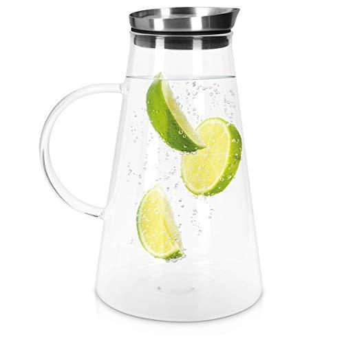 Navaris Caraffa Acqua in Vetro Borosilicato - Brocca Refrigerante Bibite in Cristallo con Coperchio e Filtro in Acciaio Inox - Bricco Vino Birra 1,6l