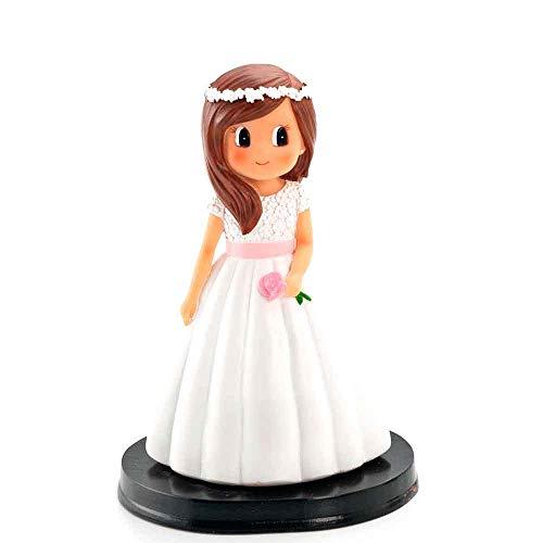 Muñeca para la tarta niña Comunión con vestido blanco y fajín rosa. Recuerdo pastel Primera Comunión niña.