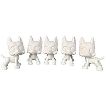 LPSCB 5pcs/Lot White Base for Pet Shop Great Dane Custom DIY Paint Design Your Pet  Blue