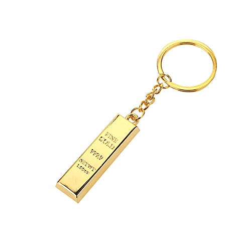 Fenghong Porte-clés de Voiture Porte-clés, Faux Or et Brique Or Voiture Trousseau de clés de Voiture Boucle Porte-clés Unique Simulation Lingot Alliage Sac à Main Sac Cadeau
