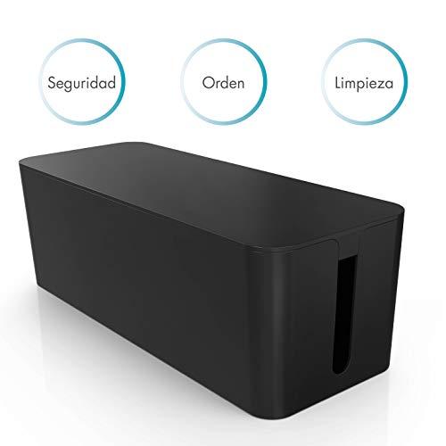 PAZZiMO Caja organizadora cables grande y negra, pasacables protector y seguro, recoge cables de forma inteligente, ordenar cables con la mejor calidad y durabilidad