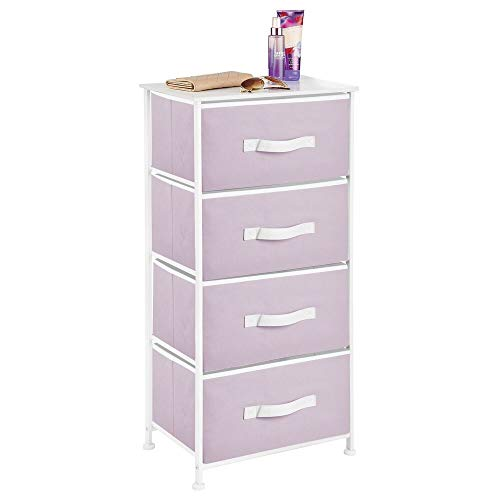 mDesign Vertical Dresser Storage Tower - Sturdy Steel Frame, Wood Top, Easy Pull Fabric Bins - Organizer Unit for Bedroom, Hallway, Entryway, Closets - 4 Drawers, Light Purple/White