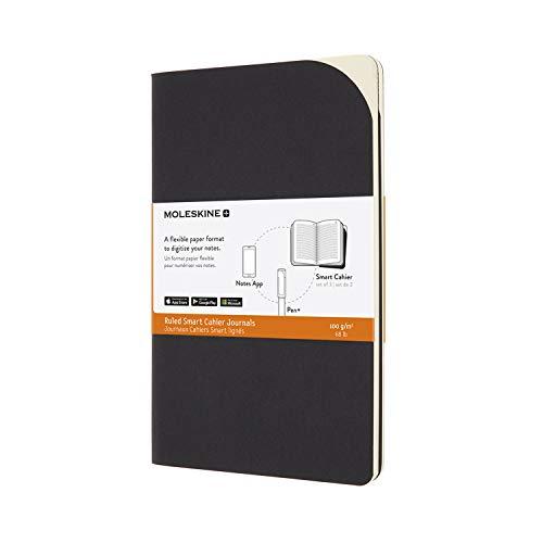 Moleskine - Smart Cahier Journals - Set mit 2 Digitalen Notizbüchern mit Blankoseiten - Kartoneinband, Kompatibel mit Moleskine Pen+, Größe Groß 13 x 21 cm, Farbe Schwarz, 80 Seiten
